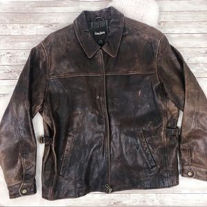 Neiman Marcus Brown Leather Bomber Jacket Large